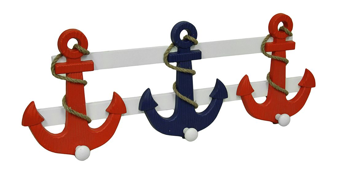 Red White And Blue Wooden Nautical Anchor Wall Decorative Wall Hooks Decorative Wall Hooks Wall Hooks Nautical Anchor