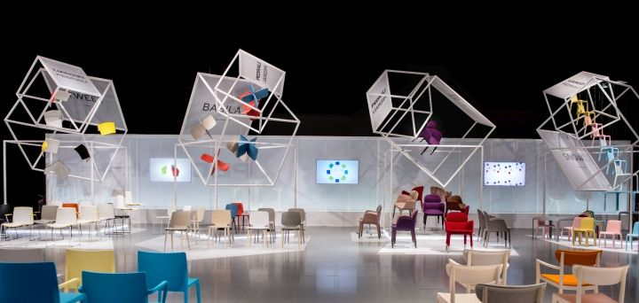 Flying boxes exhibition stand by migliore servetto for Office design exhibitions