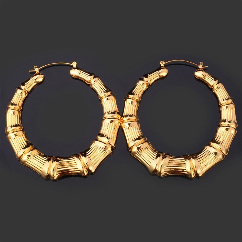 U7 Bamboo Hoop Earrings For Women Yellow Gold Plated Basket ...