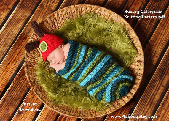 Caterpillar Baby Cocoon And Hat Knitting Pattern In Plain English