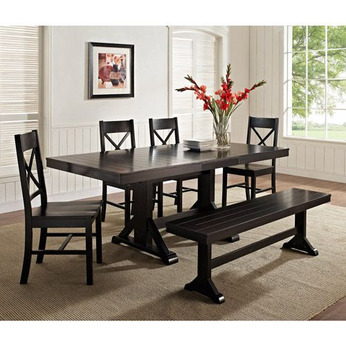 6Piece Solid Wood Dining Set Black Furniture  Walmart Classy Dining Room Tables Walmart 2018
