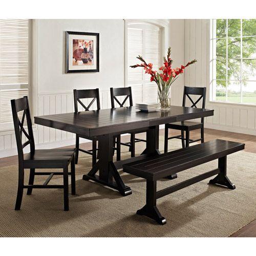6Piece Solid Wood Dining Set, Black Furniture Walmart