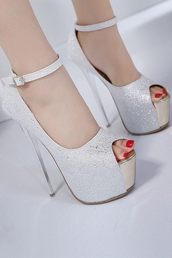 77a67a6a38b Silver Glitter Peep Toe Platform Ankle Strap Stiletto High Heel Pumps Silver  Platform Shoes