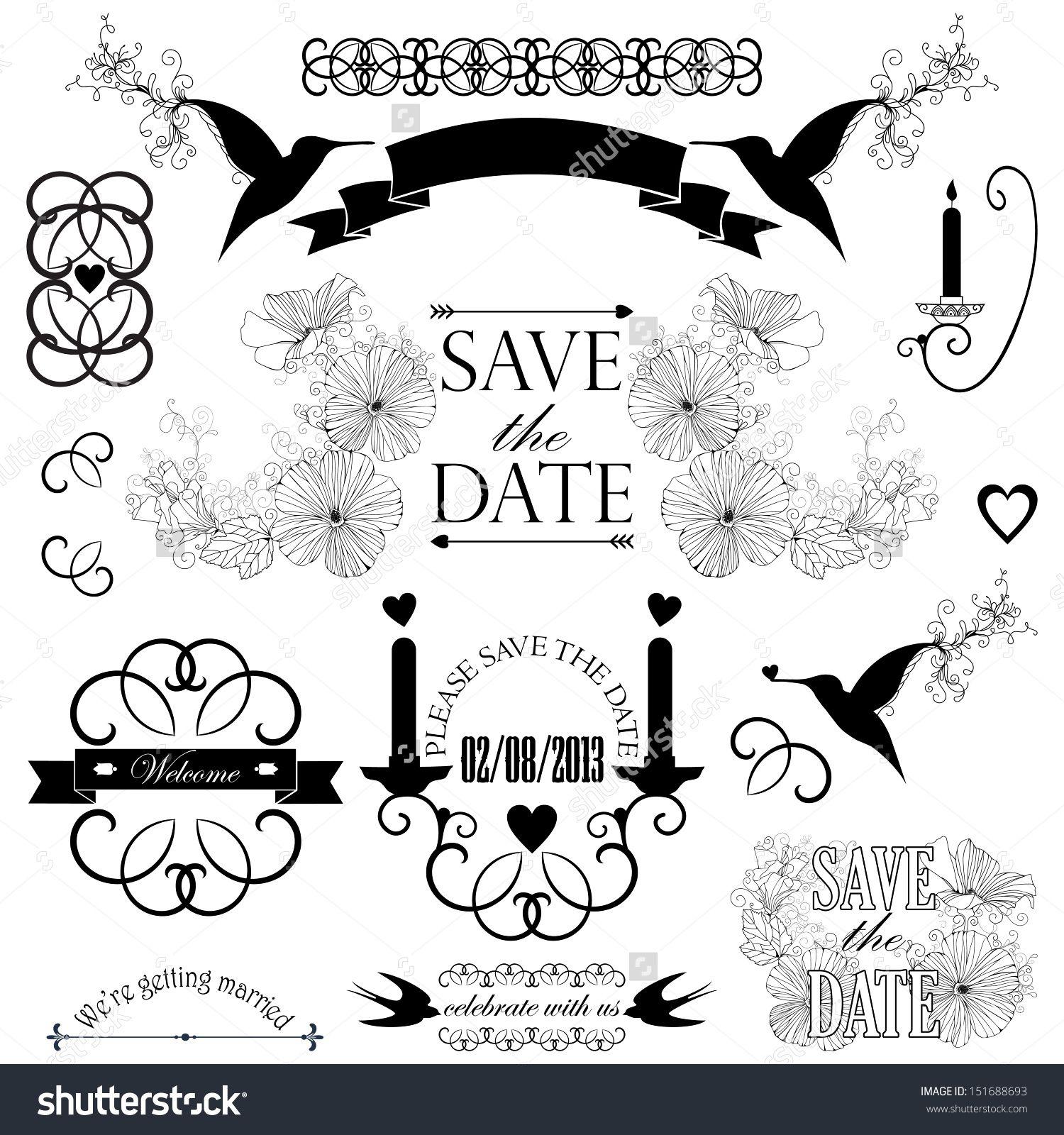 Summer beach scene vector stock vector colourbox - Vector Collection Of Wedding Design Icons Decorative Set Of Wedding Elements