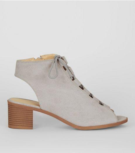 8acc803e1752 Grey Suedette Lace Up Peep Toe Ghillie Heels