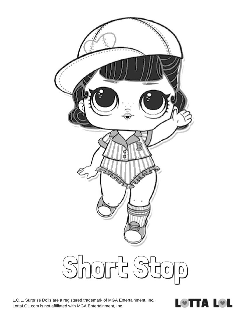 Short Stop Coloring Page Lotta Lol Coloring Books Lol Dolls Coloring Pages