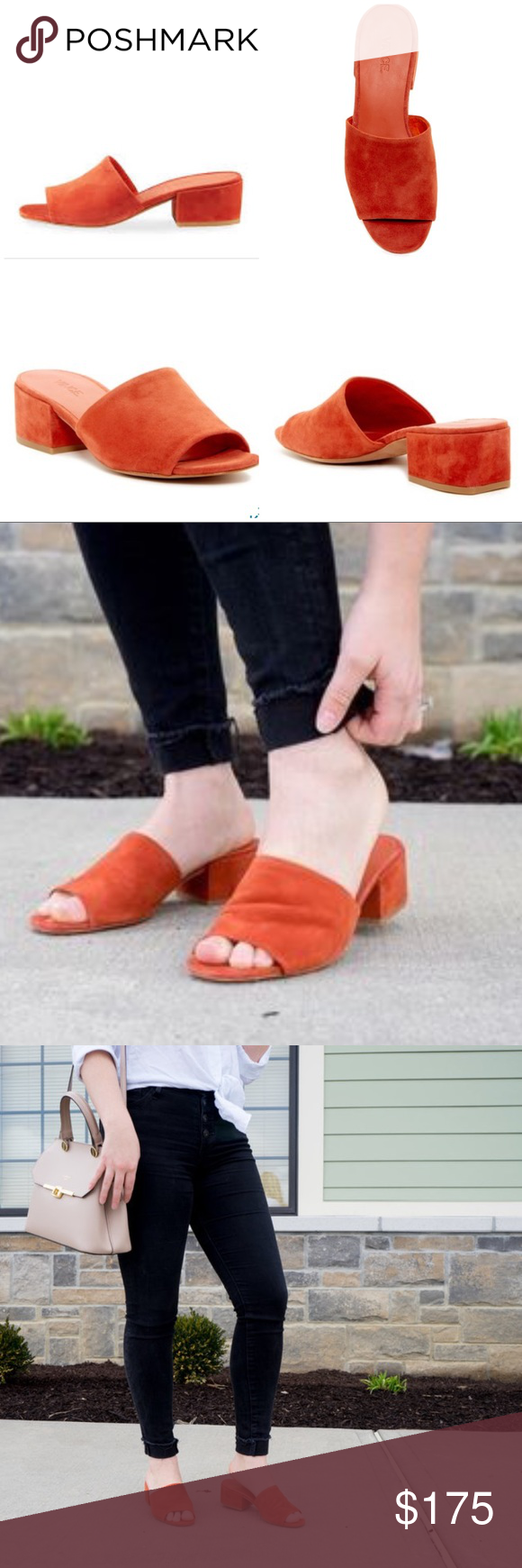8f331ed90957e New Vince Rachelle 2 rust suede Slides Mules A low block heel adds  just-right