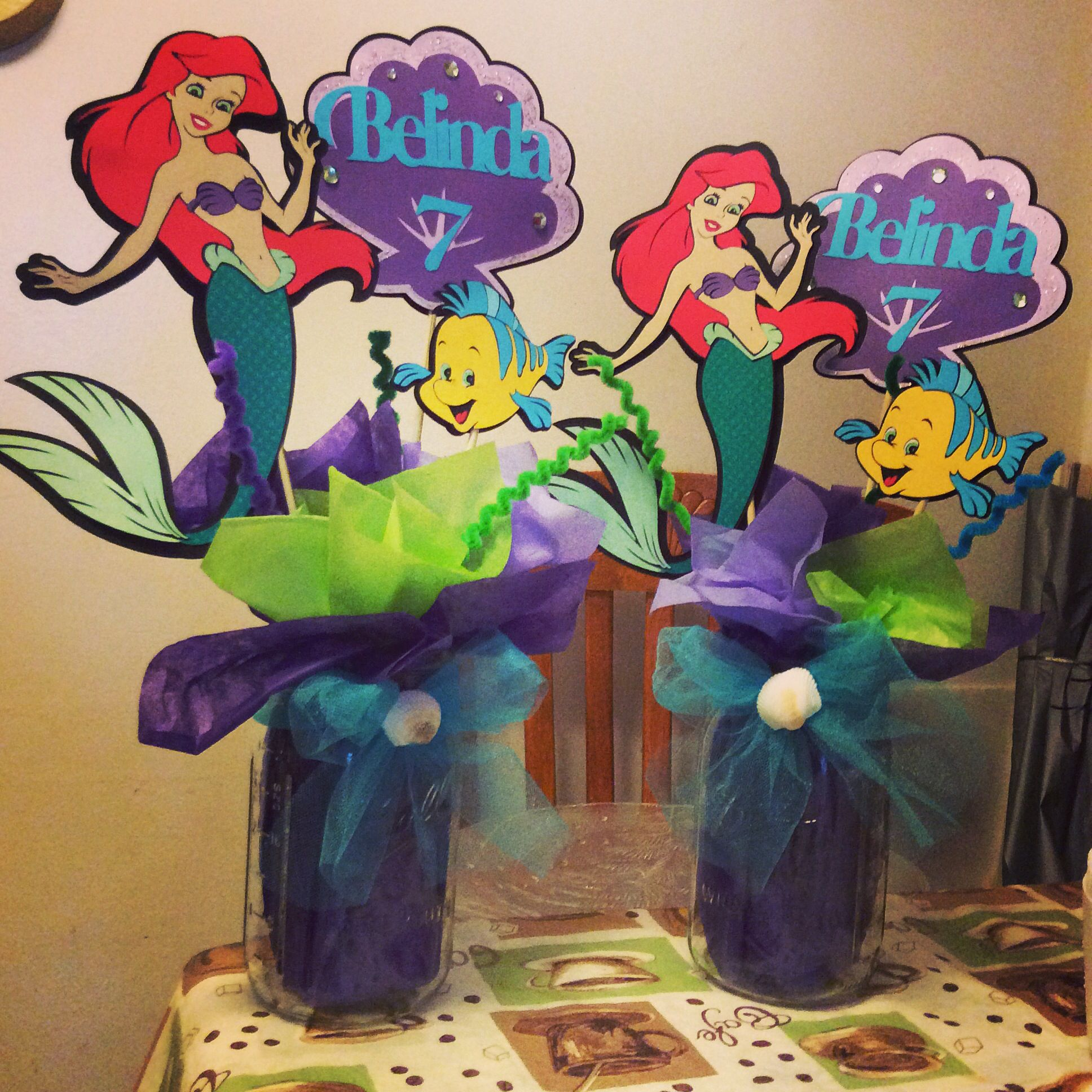 Baby/'s first birthday little mermaid purple one wood center pieces