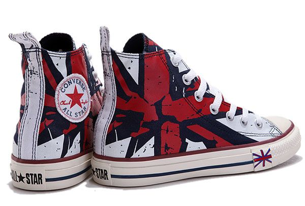 fe80f5c3350f Converse UK Flag For London Olympic Red Blue Beige Printed High Tops Canvas  Shoes  MD120703
