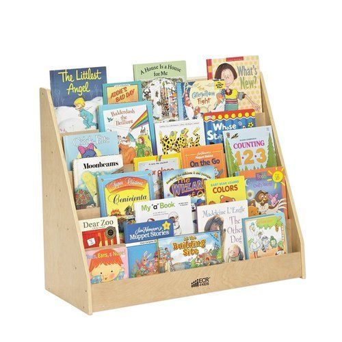 Childrens Slot Bookshelf Playroom DayCare Preschool Heavy Duty Wood Smooth Edged