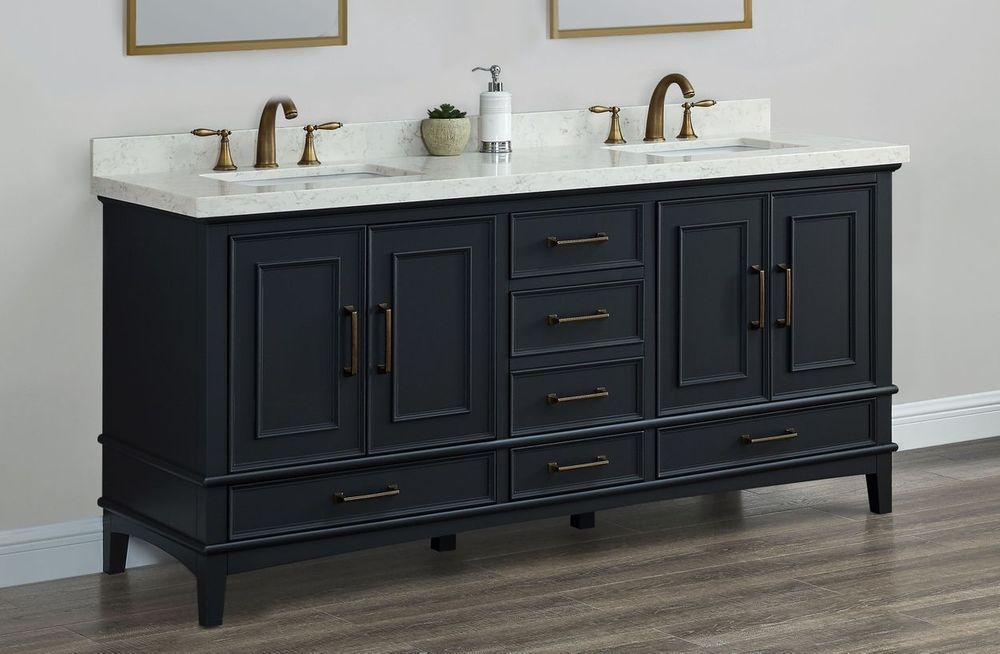 Parker Midnight 72 Inch Double Sink Vanity With Images Double
