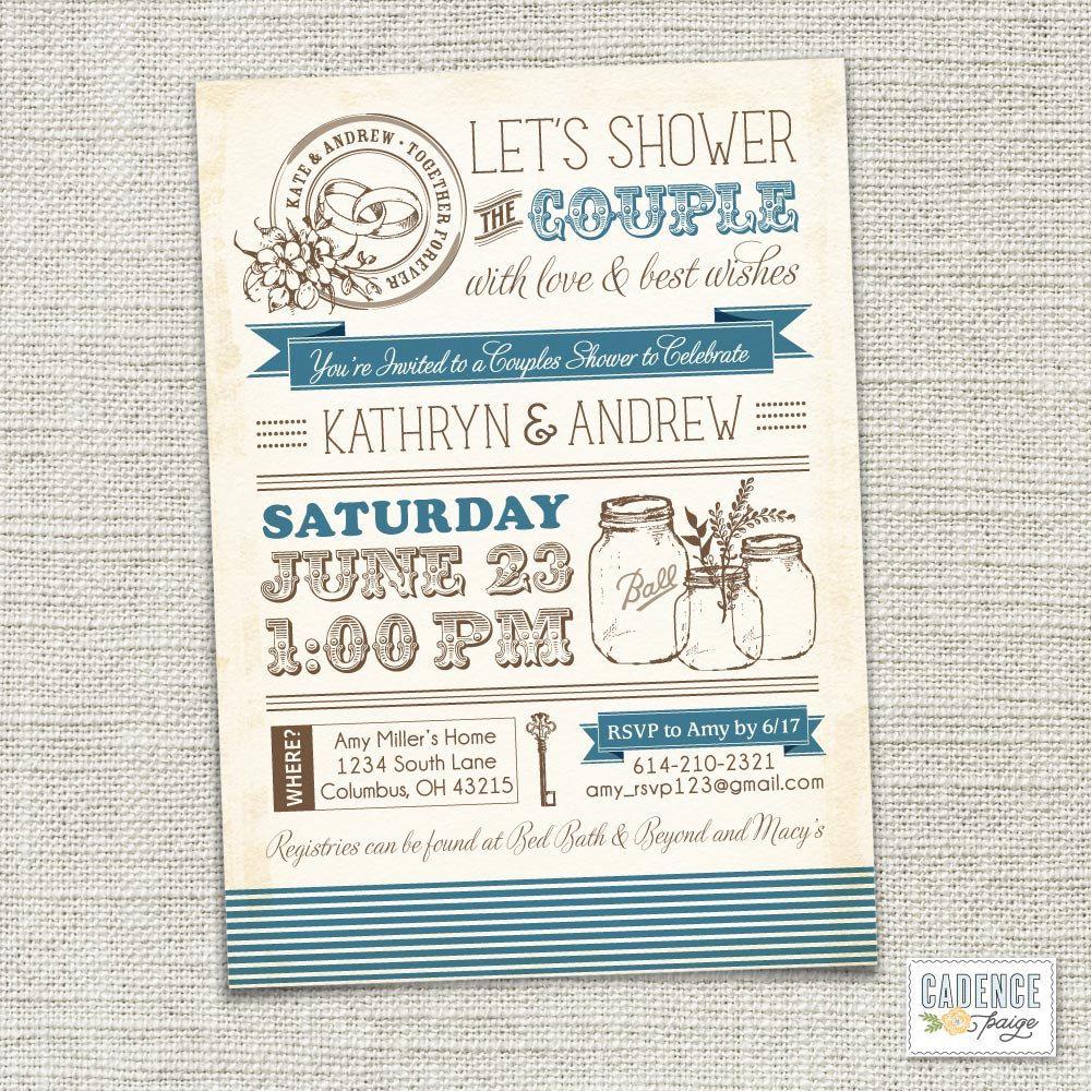Vintage Mason Jars Couples Shower Invitation, Couples