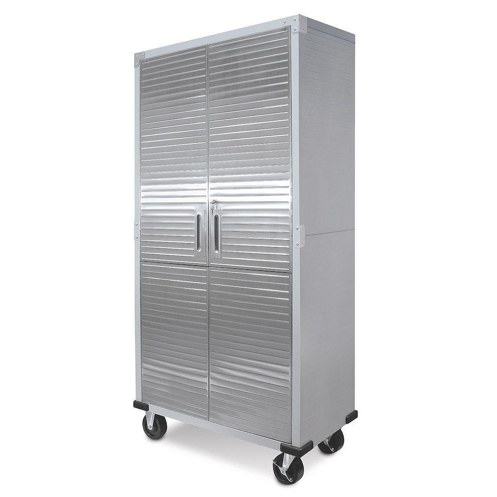 "Metal Storage Cabinet Rolling Steel With Locking Doors Garage Shop 72"" Tall #Seville"