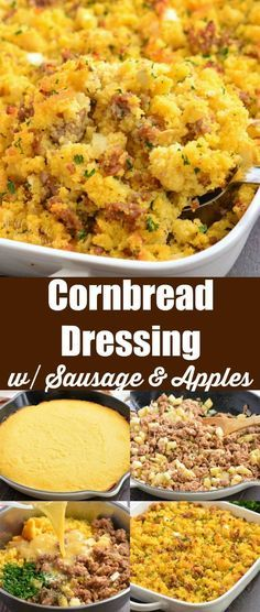 Cornbread Dressing with Sausage and Apples. A delicious Cornbread Dressing recipe made with homemade cornbread onions celery herbs and addition of spicy Italian sausage and apples. #cornbread #dressing #stuffing #sidedish #sausage #apples #holidaysides #cornbreaddressing