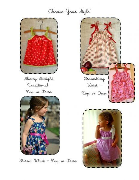 Pretty Praline Pillowcase Dress or Top PDF Sewing Pattern - Baby Toddler Girls Sizes 10