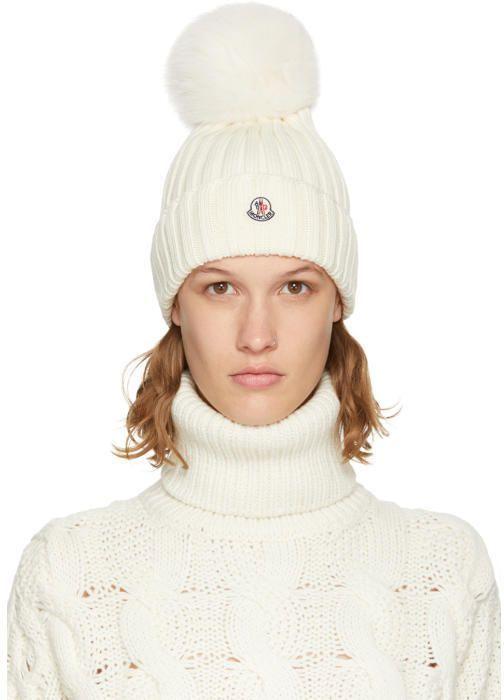 Moncler Off-White Fur Pom Pom Beanie  c0ce51e52dd