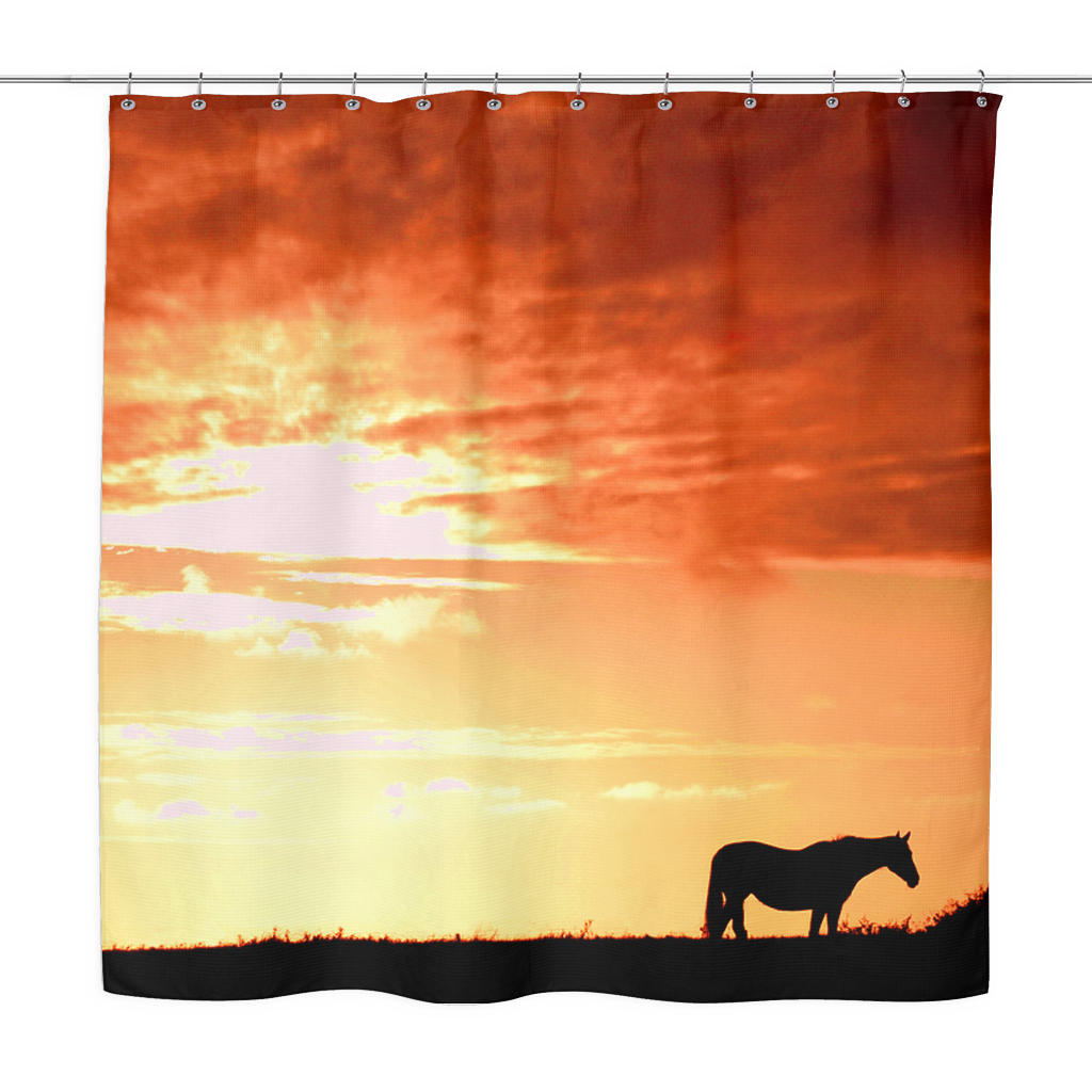 Sunset Horse Shower Curtain Curtains Western Homes Horses
