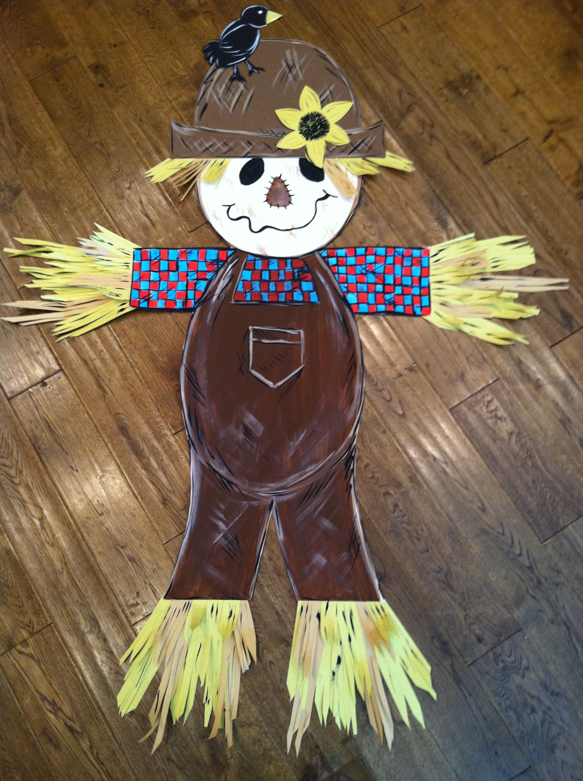 Hand Painted Fall Scarecrow - School door decoration - Cut ...
