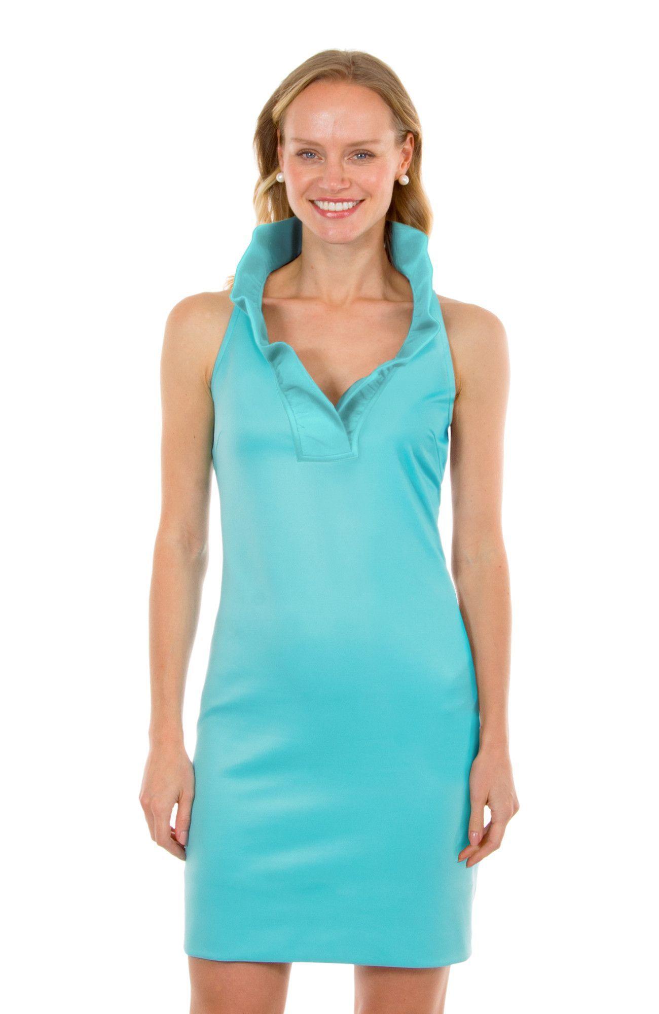 cc2b809a98e Gretchen Scott Ruff Neck Sleeveless Jersey Dress - Solid Turquoise ...