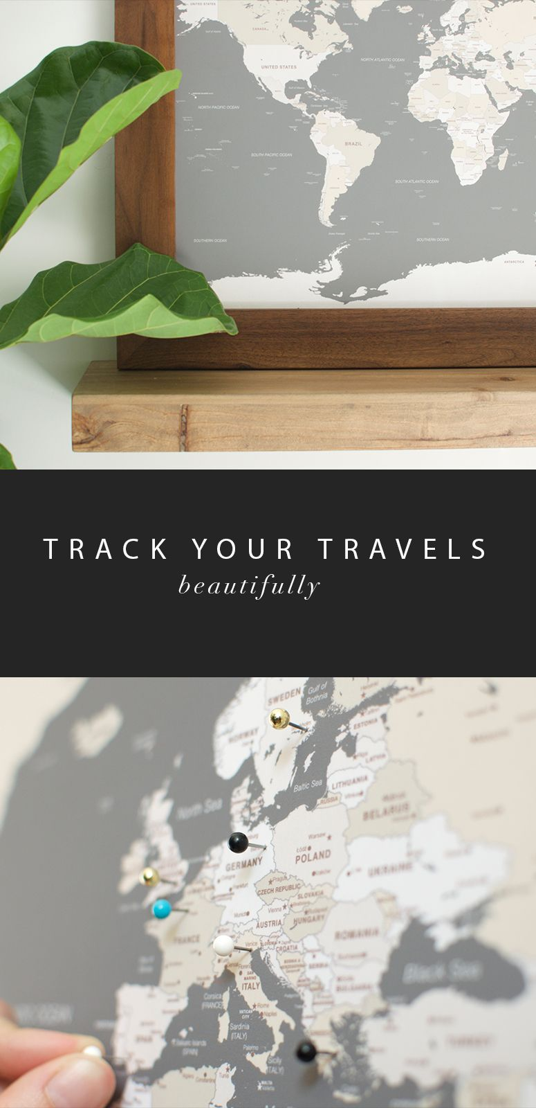 Large Grey World Push Pin Travel Map Pinterest Travel Maps Map - World map track your travels