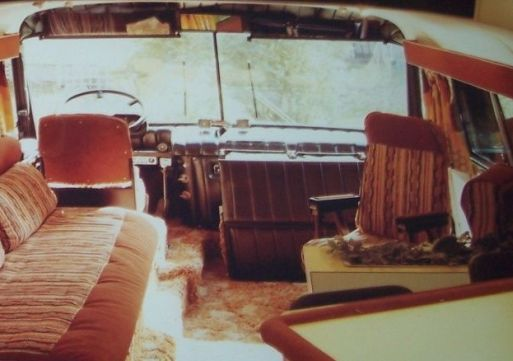Inside Elvis' tour bus, looking toward the front of the bus.