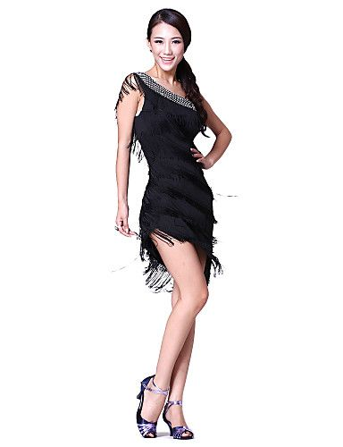 Dancewear Cotton/Polyester with Crystal/Tassels Performance Latin Dance Dress For Ladies More Colors - USD $ 34.99