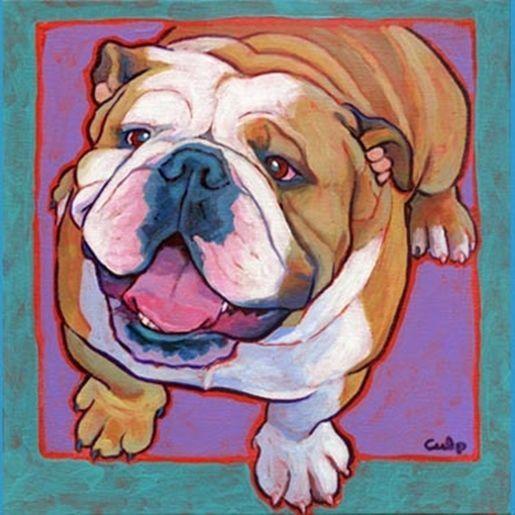 """Bulldog Happy Sitting Print 8"""" x 10"""" - by Lynn Culp - NEW - FREE SHIPPING"""