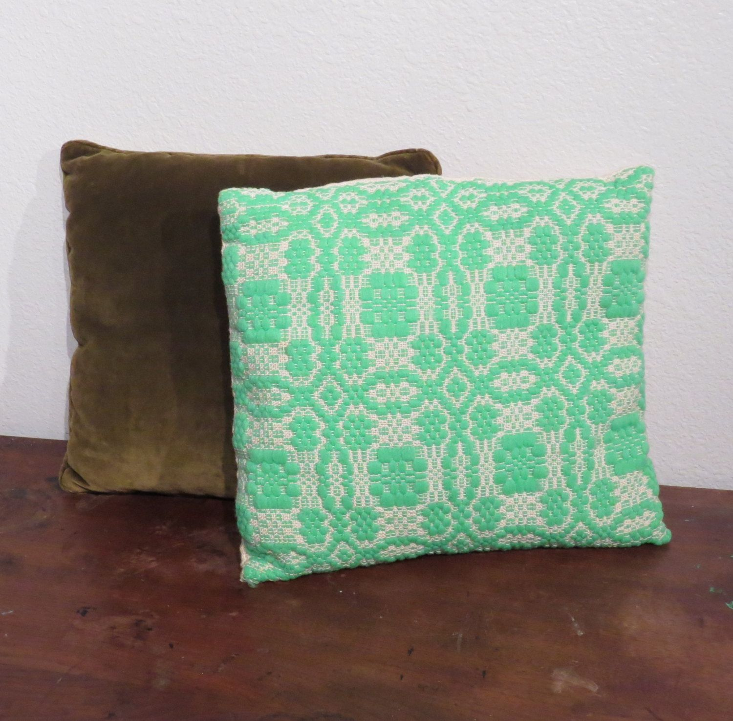Vintage knit pillow embroidered aqua lace pattern by hurstdesigns