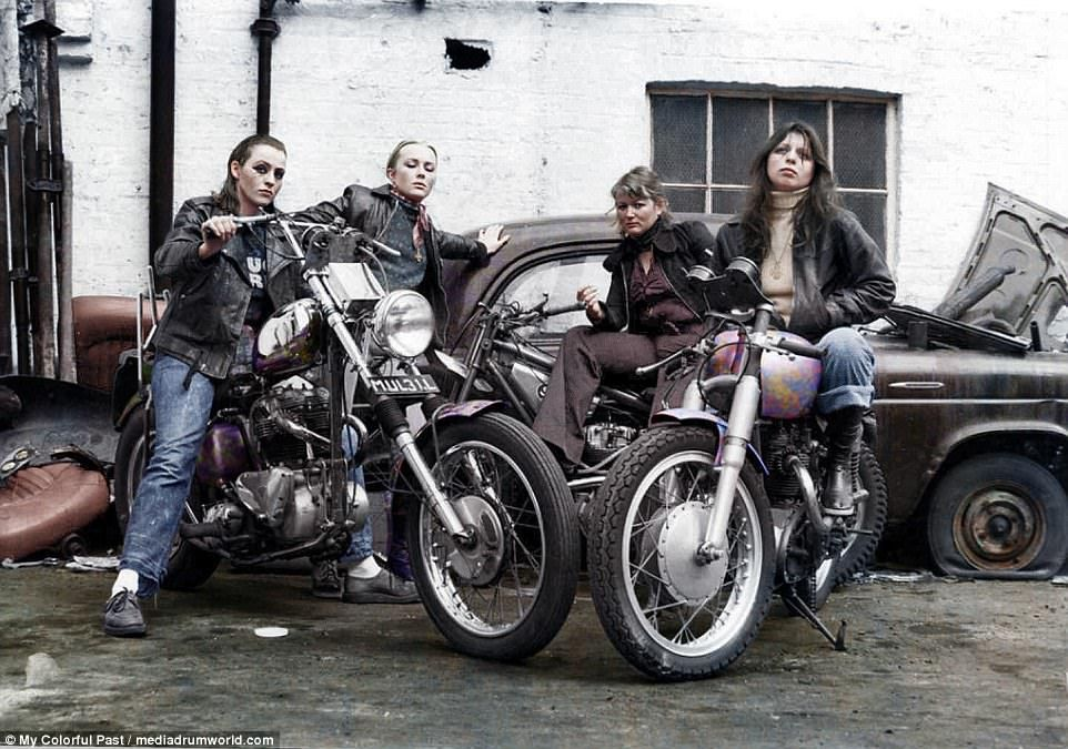 Black and white photographs of the Hells Angels get colour