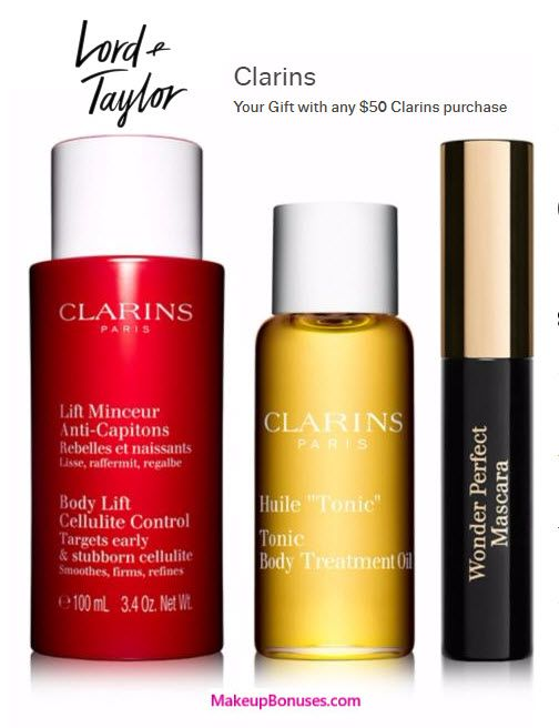 Lord & Taylor Free Bonus Gifts with Purchase from Clarins and Lancôme - details at MakeupBonuses.com #LordAndTaylor #clarinsusa #lancomeUSA #gwp