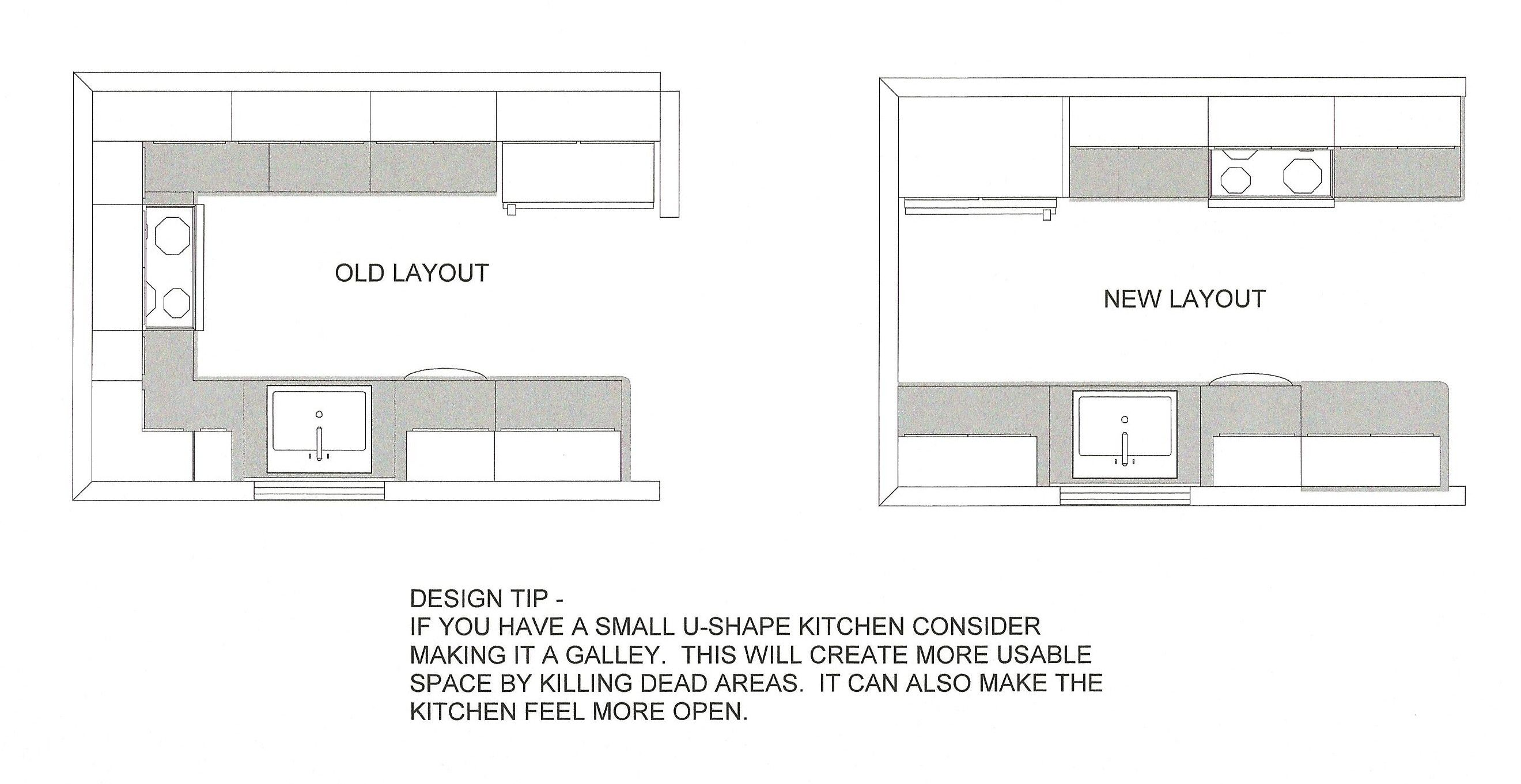 narrow u shaped kitchen designs - Google Search