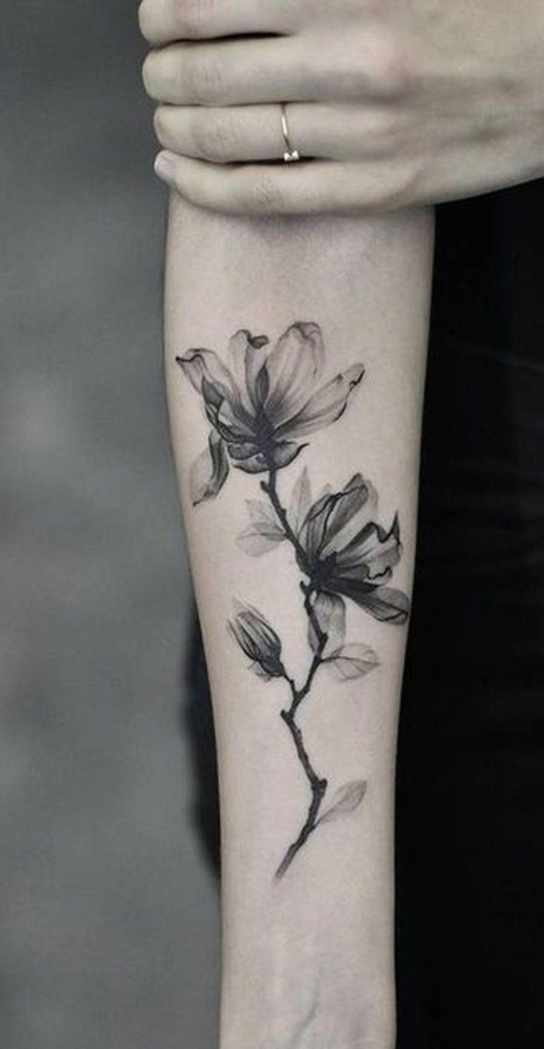 Watercolor Black Magnolia Forearm Tattoo Ideas For Women Www