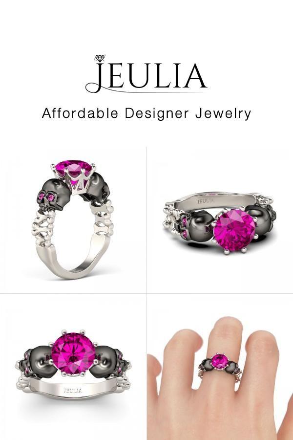 Jeulia JEULIA Silver 2 Tone Skull Design Round Cut Rose Sapphire Skul