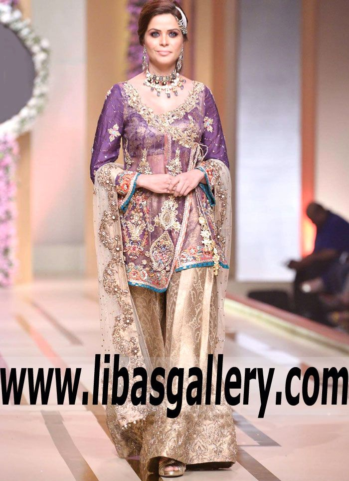 ff3c0fbc66 Majestic Angrakha Style Wedding Dress with Two Legged Sharara features  Classic and Marvelous Embellishments for Wedding