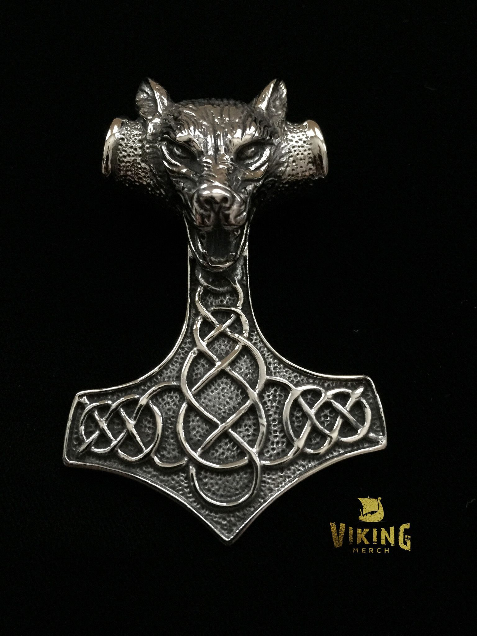 This HUGE Viking Wolf Thor Hammer is 3.1 inches tall and 2.17 inches wide made…