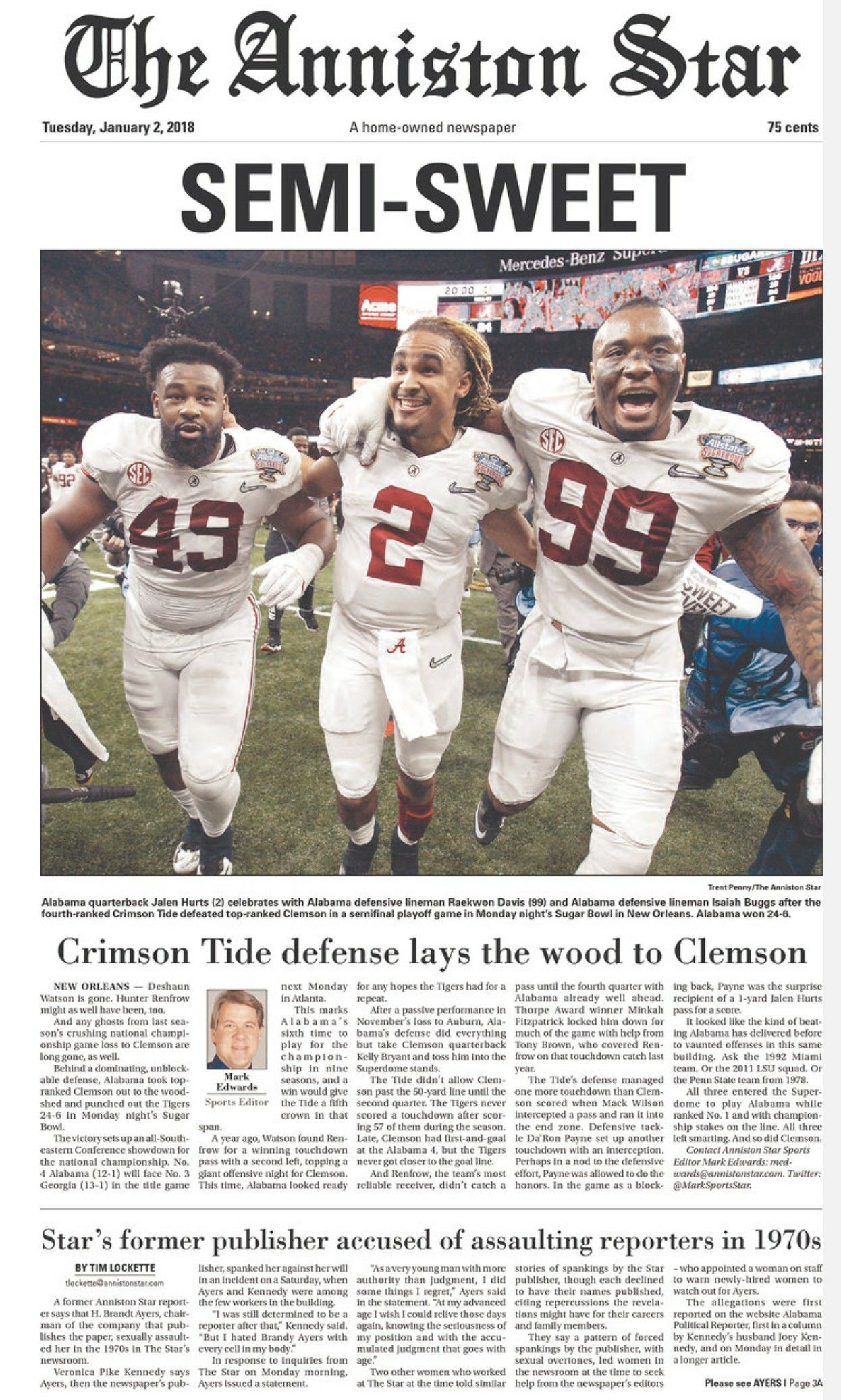 Alabama beats Clemson 24 6 in 2018 CFP. Will play