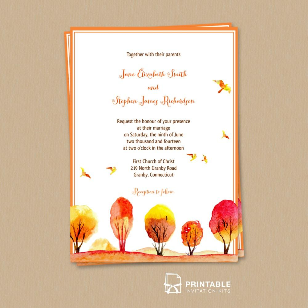 FREE PDF Download - Watercolor Autumn\/Fall Scene Wedding Invitation template. Easy to edit and