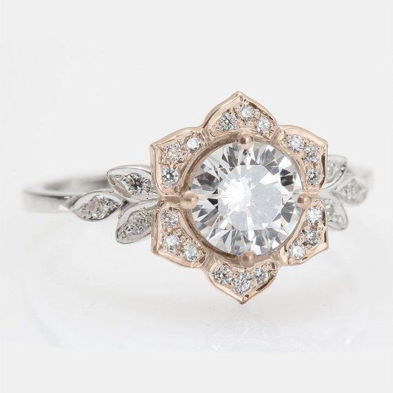 Art Deco Unique Diamond Wedding Ring 14k Two Tone Gold: Vintage Flower Ring, Leaf Engagement Ring, 14K Gold Ring