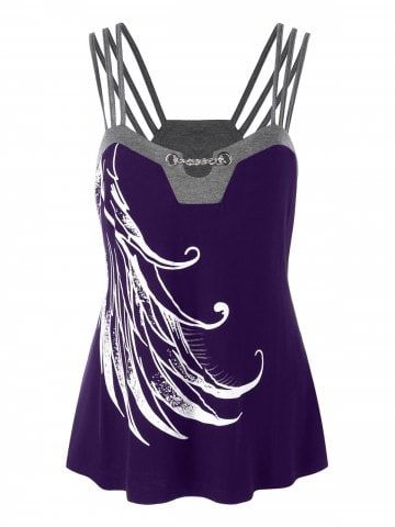 e3db2532f85f2e Shop for Purple Iris 3xl Plus Size Graphic Strappy Tank Top online at   14.58 and discover fashion at RoseGal.com Mobile