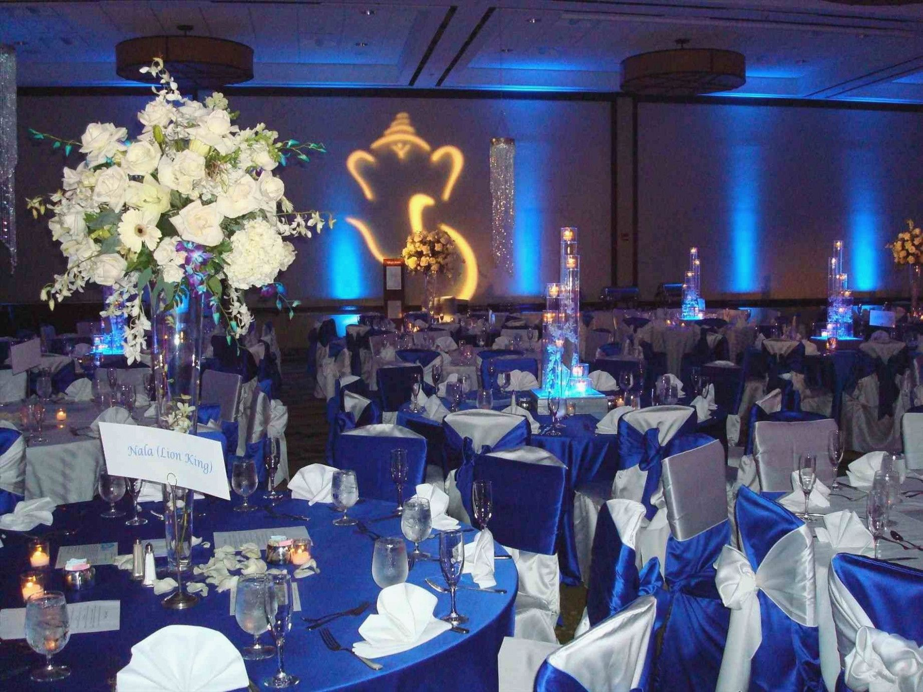 Wedding decorations with royal blue  Royal Blue and Silver Wedding Decorations Elegant Silver Wedding