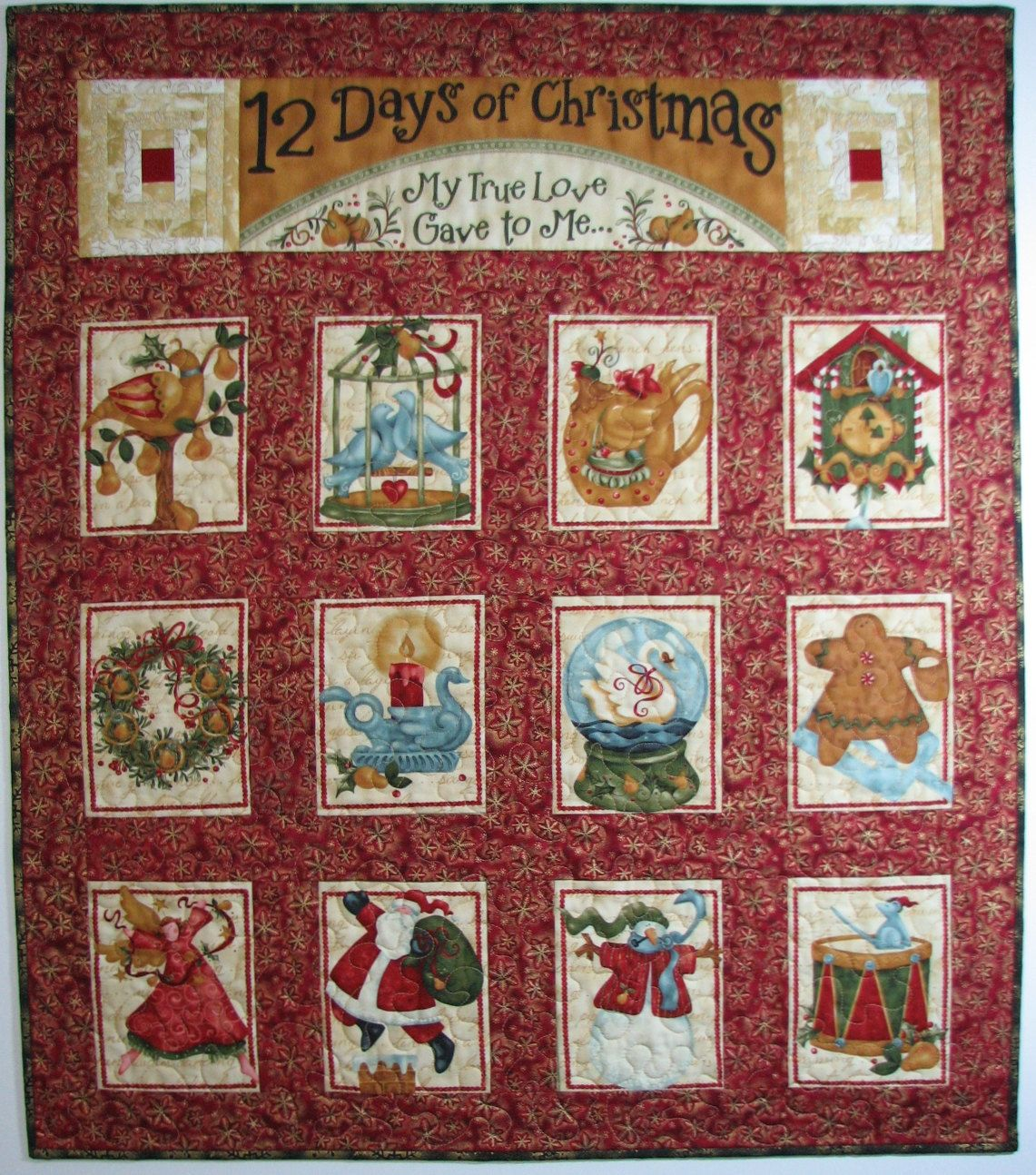 Quilted Wall Hanging Christmas Wall Hanging 12 Day Of Christmas Folk Art Wall Hanging Quilted Wall Hangings Christmas Wall Hangings Hanging Wall Art