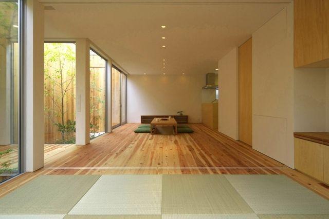 puristische Innenarchitektur im japanischen Stil-einbau-Lichtspots - holz decke haus design bilder