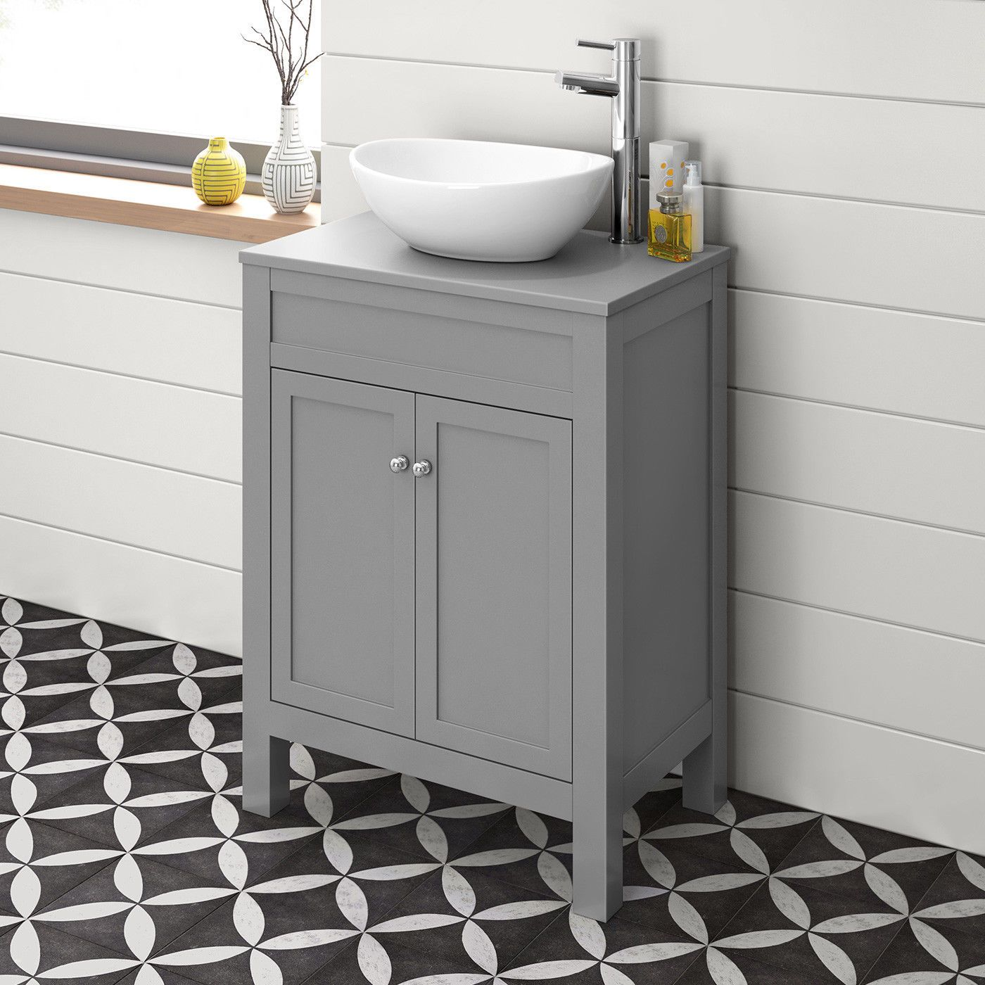 Modern Bathroom Vanity Unit Floorstanding Grey Sink Countertop Basin Furniture Ebay Grey Countertops Grey Vanity Unit Countertop Basin