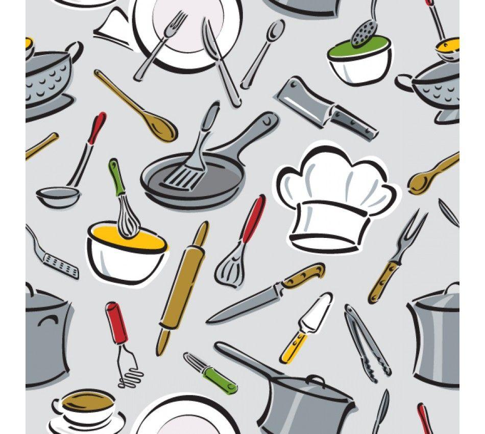Decora O Papel De Parede Autocolante Utens Lios Ff039 O  ~ Desenho Utensílios De Cozinha