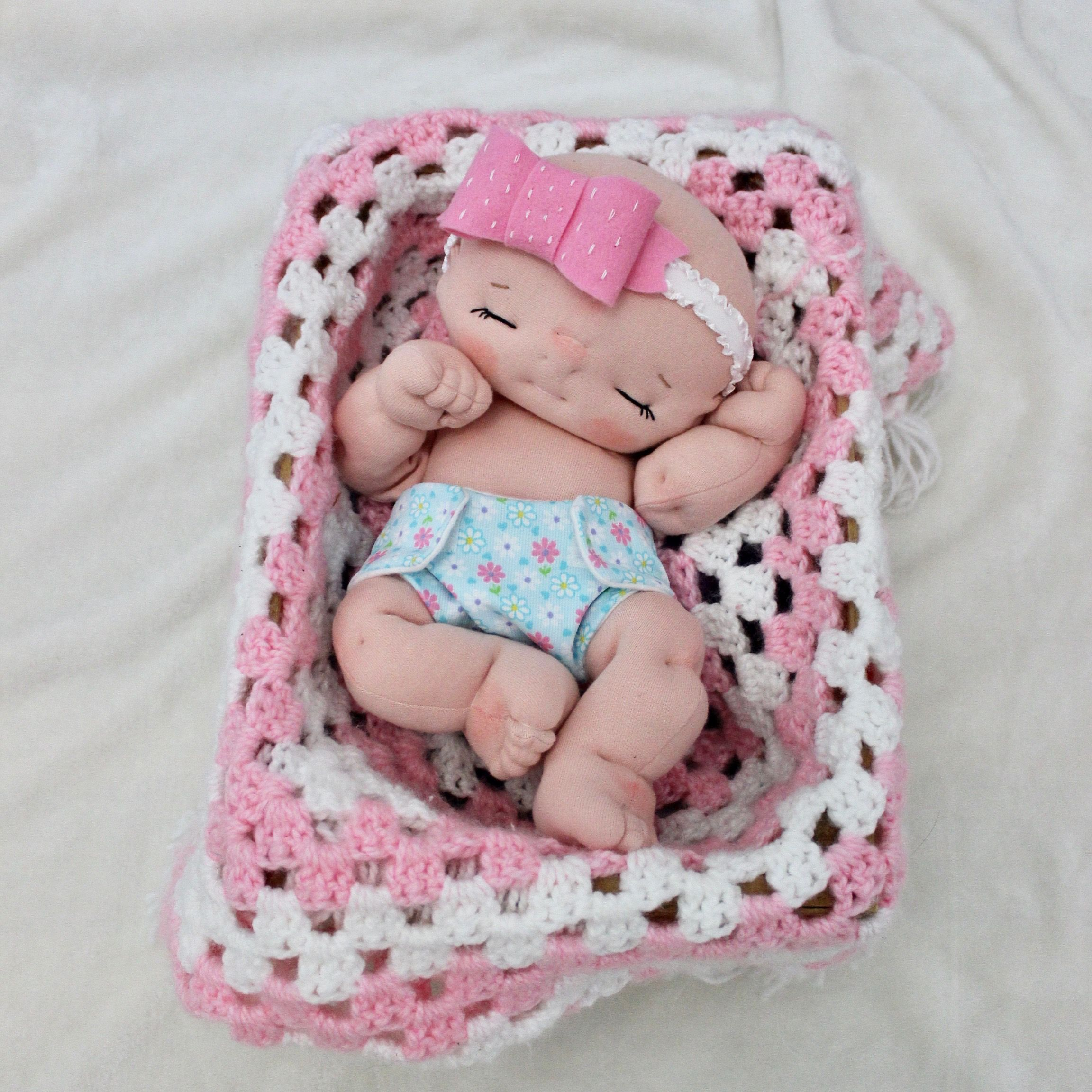 Custom 13 in fully soft sculpted cloth baby doll by Aubrey Barbosa