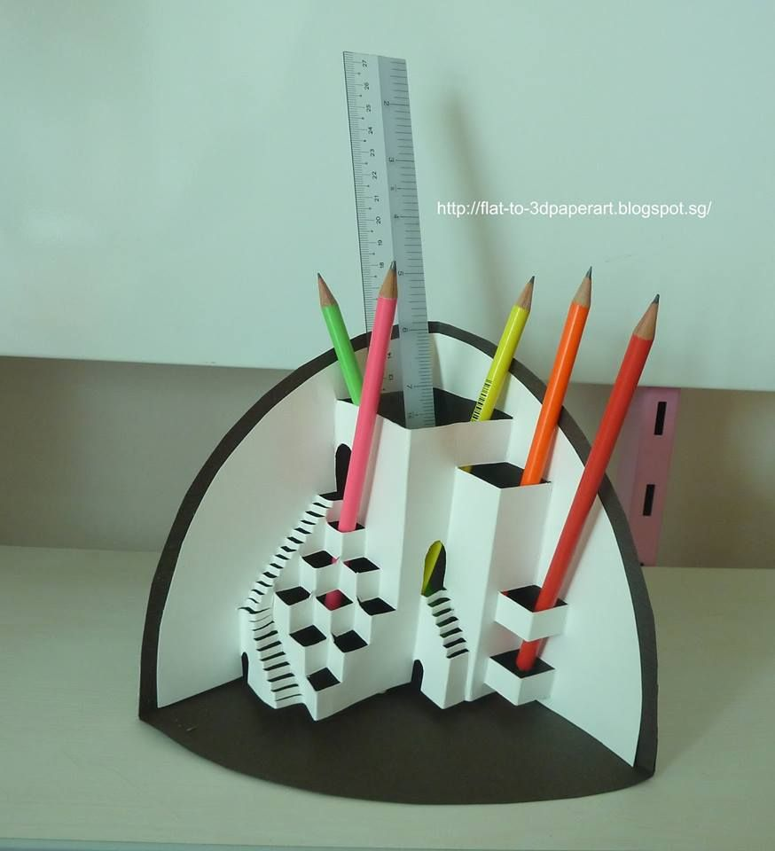 origami architecture pencil holder 3d paper art by gauri