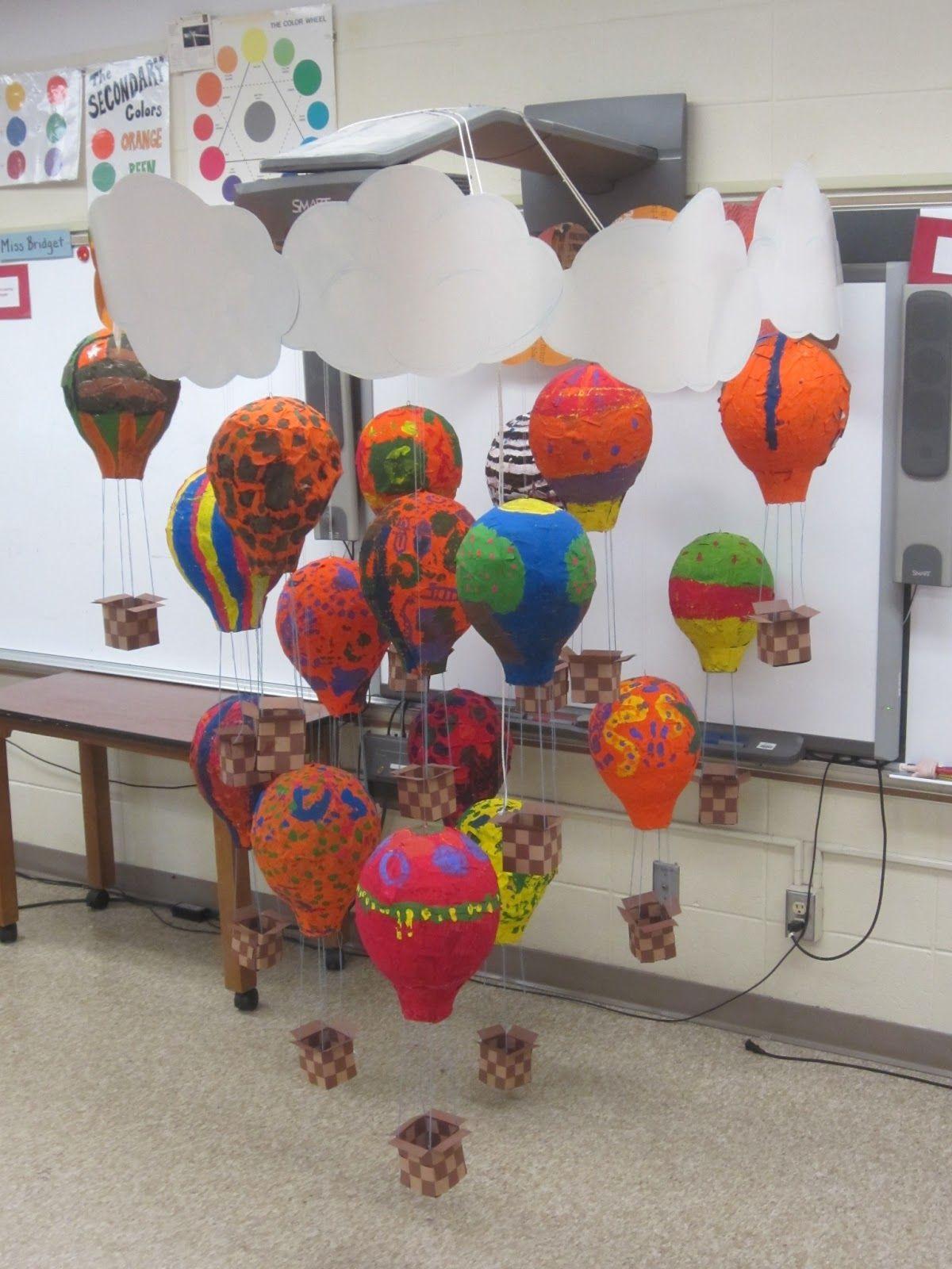 Arts plastiques montgolfi res en papier m ch - Montgolfiere en papier ...