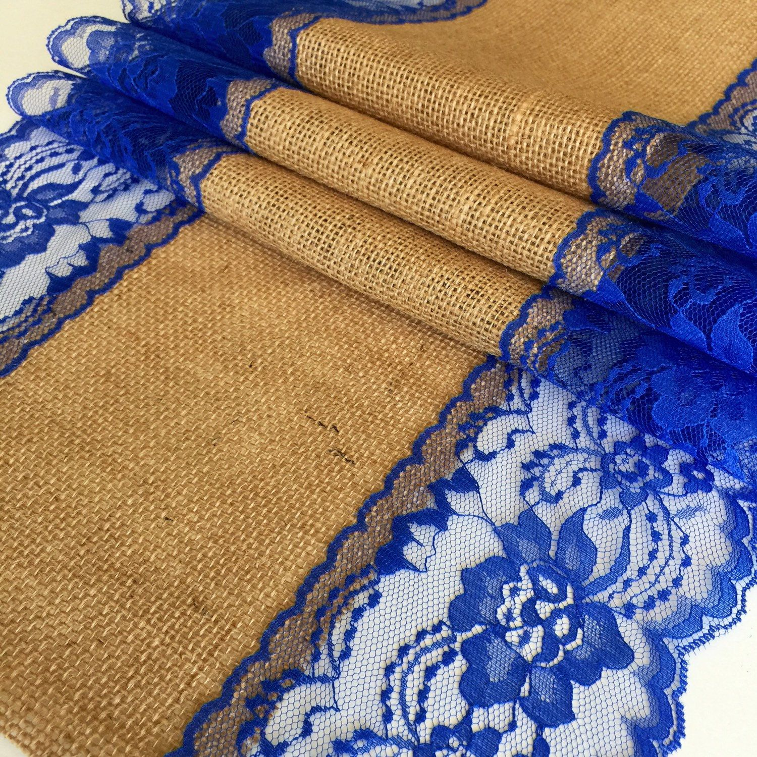 Wedding decorations with royal blue  Burlap Lace Table Runner u ROYAL BLUE LACEftft xin Wide