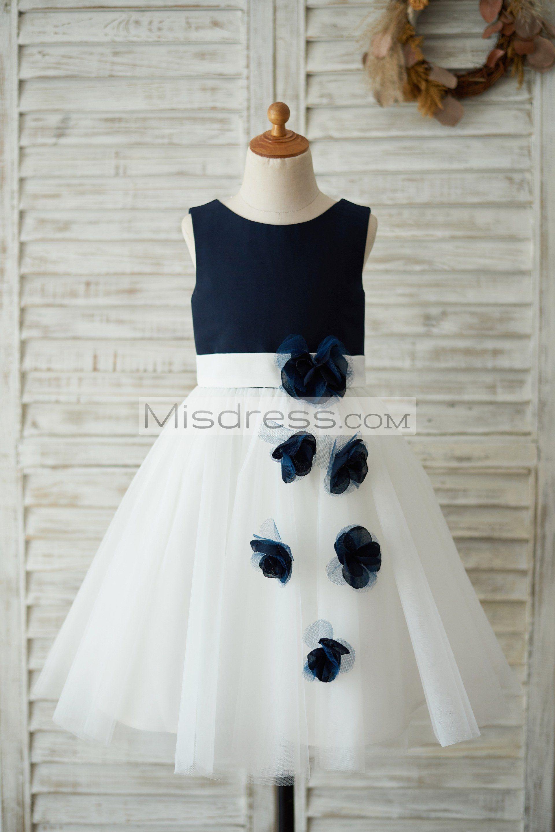 Navy Blue Satin Ivory Tulle Wedding Flower Girl Dress With Handmade