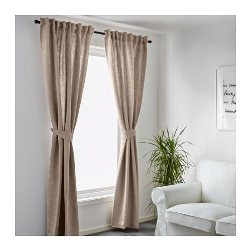Blekviva Curtains With Tie-backs, 1 Pair, Beige | Curtains And Ikea Beige Wei Ikea